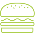An outline shapre of a hamburger